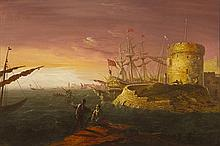 William Sadler II (c.1782-1839) MARITIME SCENE WITH MARTELLO TOWER AND TALL SHIPS