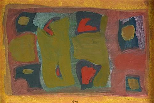 Tony O'Malley HRHA (1913-2003) UNTITLED [ABSTRACT COMPOSITION WITH REDS, GREEN AND YELLOW]