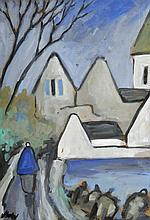 Markey Robinson (1918-1999) SHAWLIE WITH VILLAGE IN THE DISTANCE