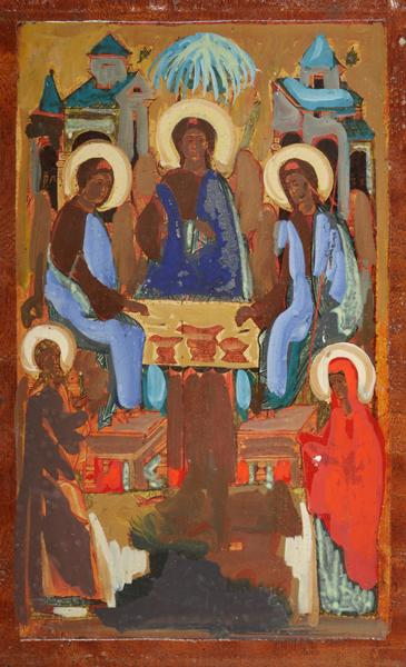Markey Robinson (1918-1999) ICON, THE HOSPITALITY OF ABRAHAM AND HIS WIFE SARAH TO THE THREE ANGELS