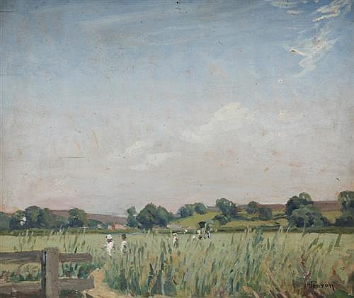 Hilda Fearon ROI (British, 1878-1917) FIGURES IN A FIELD