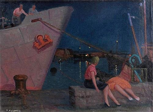 Patrick Leonard HRHA (1918-2005) FISHING BOAT, WEXFORD HARBOUR, c.1950s