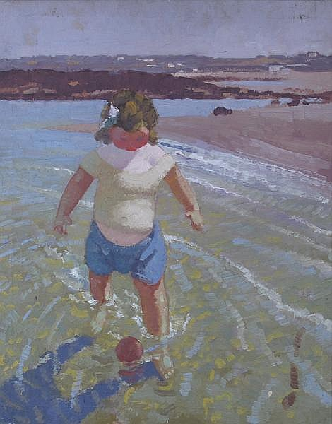 Patrick Leonard HRHA (1918-2005) CHILD WITH BALL ON BEACH