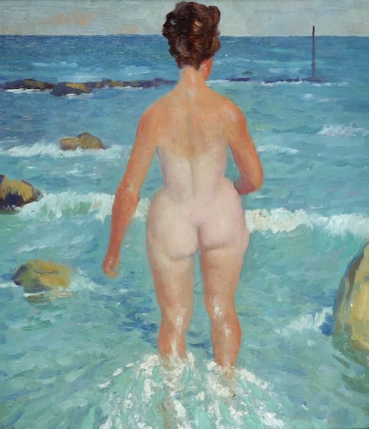 Patrick Leonard HRHA (1918-2005) NUDE BATHER