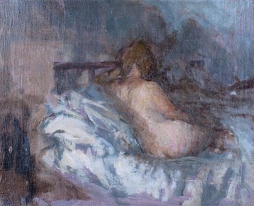 Bernard Dunston RA (b.1920) NUDE CANDLELIGHT, EASTER, 1951