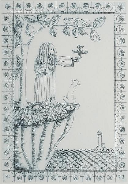 Barry Castle (1935-2006) UNTITLED [FIGURE WITH BIRD AND CAT] 1977