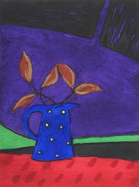 Jane O'Malley (b.1944) BLUE JUG AND LAVA FIELDS II [LANZAROTE]