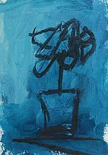 Basil Blackshaw HRHA RUA (1932-2016) UNTITLED [FLOWER POT AGAINST BLUE BACKGROUND]