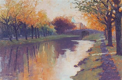 Brett McEntagart RHA (b.1939) THE CANAL LOOKING TOWARDS RATHMINES, DUBLIN