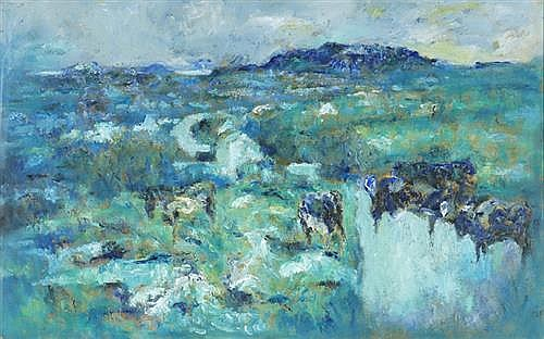 Desmond Carrick RHA (1928-2012) BLUE AND GREEN LANDSCAPE WITH CATTLE