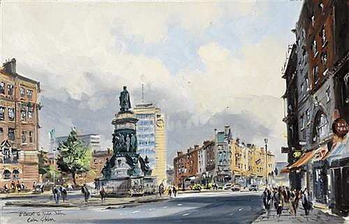 Colin Gibson RUA (b.1948) O'CONNELL STREET BRIDGE, DUBLIN and TRINITY COLLEGE, DUBLIN (A PAIR)