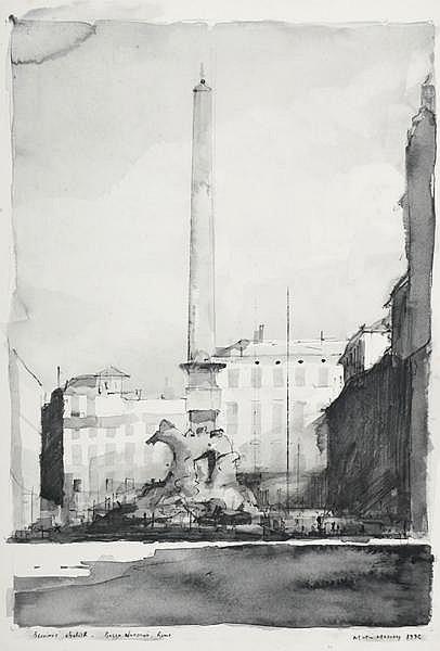 Martin Mooney (b.1960) BERNINI'S OBELISK, PIAZZA NAVONA, ROME, 1992
