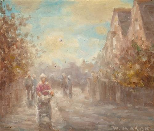 William Mason (1906-2002) STREET SCENE WITH FIGURE IN PINK