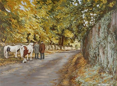Pat Phelan GENTLEMEN AND HORSES ON A BEND IN THE ROAD