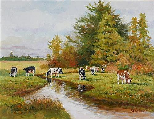 Rick Bentham (b.1950) COWS BY THE STREAM