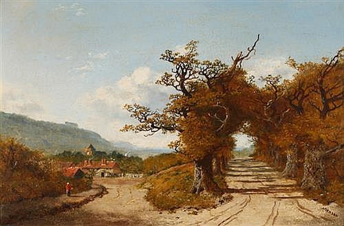 Edmund John Niemann (British, 1813-1876) COUNTRY PATH WITH FIGURE WALKING