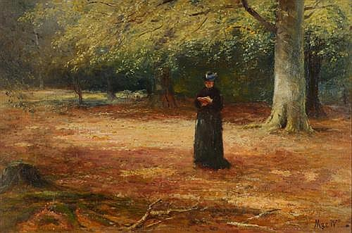 John MacWhirter RA HRSA (1839-1911) AUTUMN SCENE, WOMAN READING IN WOODLAND