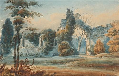 Henry Calton Maguire (1790-1854) THE RUINS OF AN ABBEY (A PAIR)