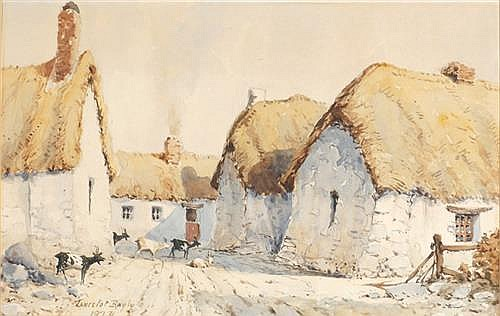 Lancelot Bayly (1869-1952) FARM SCENE WITH GOATS, c.1920s