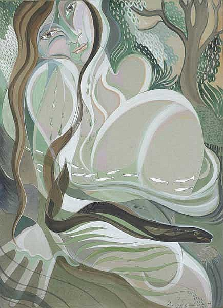 Pauline Bewick RHA (b.1935) WOMAN FISH AND EEL,
