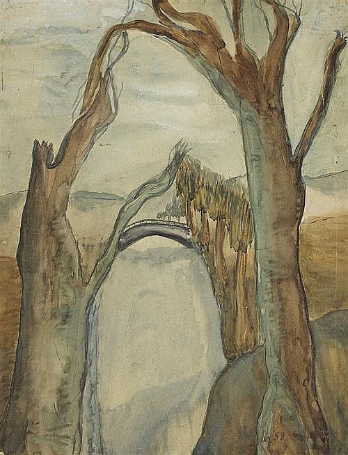 Christy Brown (1932-1981) RIVER, BRIDGE AND TREES, 1959