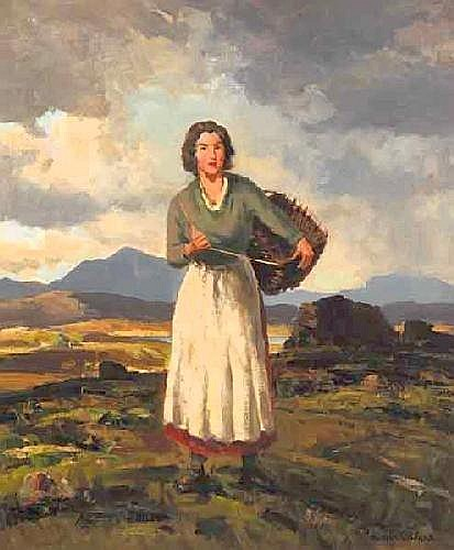 Maurice Canning Wilks, RUA ARHA (1910-1984) TURF GATHERED, COUNTY DONEGAL signed lower right; inscribed with title on reverse oil on canvas 61 by