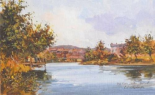 Colin Gibson RUA (b.1948) THE RIVER LAGAN, BELFAST signed and inscribed lower right oil on canvas board 13 by 20cm., 5 by 8in. Provenance: John