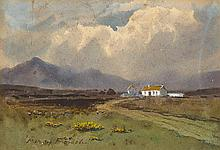 William Percy French (1854-1920) COTTAGES WITH MOUNTAIN RANGE IN THE DISTANCE