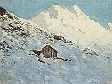 William Percy French (1854-1920) SNOW SCENE WITH LOG CABIN, SWITZERLAND