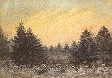 William Percy French (1854-1920) PINE FOREST AT SUNSET
