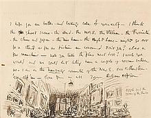 Sir William Orpen RA RI RHA (1878-1931) ILLUSTRATED LETTER TO SIR HUGH LANE: PUZZLE FIND THE OWNER OF THE STUDIO (c.1906-1908)