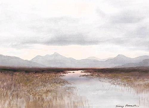 William Percy French (1854-1920) TWELVE BENS, CONNEMARA  signed lower right watercolour 39 by 55cm., 15.5 by 21.5in. Provenance:  Taylor Gallery,