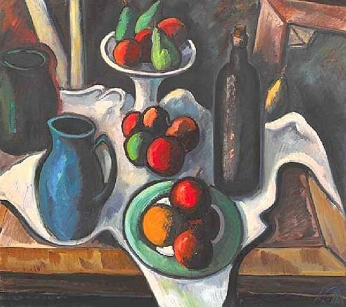Peter Collis RHA (b.1929) STILL LIFE WITH WINE AND FRUIT  signed lower right oil on canvas 81 by 91cm., 32 by 36in.  E8000-10000 ( GBP5400-6800