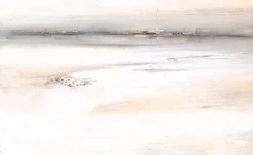 Richard Kingston RHA (1922-2003)  MERRION STRAND LOOKING TOWARDS RINGSEND signed lower right; gallery label on reverse oil on board  76 by 122cm., 30