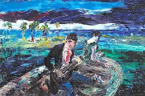 Jack Butler Yeats RHA (1871-1957) DRIFT, 1941  signed lower right; original exhibition labels on reverse oil on canvas  61 by 91cm., 24 by 36in.
