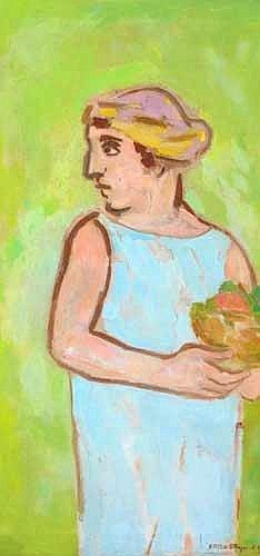 Stella Steyn (1907-1987)  WOMAN IN BLUE HOLDING A BOWL OF FLOWERS, 1953 signed and dated lower right; numbered 'EFS 12' on reverse  oil on canvas 107