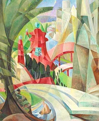 Mary Swanzy HRHA (1882-1978)  CUBIST LANDSCAPE WITH RED PAGODA AND BRIDGE, circa 1926-28 signed lower left oil on canvas  76 by 64cm., 30 by 25in.