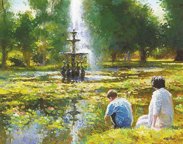 Rick Bentham (b. 1950) RELAXING BY THE POND,
