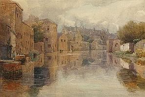 Mary Georgina Barton RWS (1861-1949) SLIGO CANAL watercolour over pencil