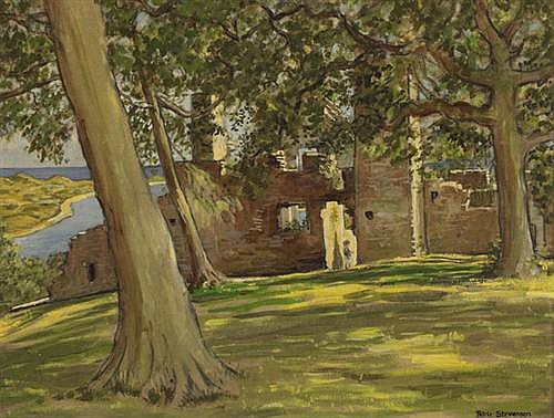 Patric Stevenson RUA (1909-1983) BLUNDELL RUINS, DUNDRUM CASTLE, COUNTY DOWN, c.1966