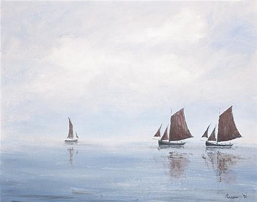 Peter Pearson (b.1955) THE ANNUAL RACE OF THE HOOKERS, ARAN ISLANDS, GALWAY, 1991 oil on canvas