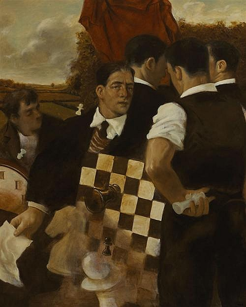 Noel Murphy (b.1970) THE CHESSPLAYERS, 1996 oil on canvas