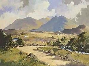 George Gillespie RUA (1924-1995) IN THE MOURNES NEAR GLASDRUMMOND AND GLEN RIVER signed lower left, inscribed with title on reverse oilon board