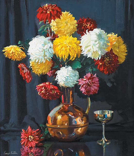 George Collie RHA (1904-1975) - STILL LIFE WITH CHRYSANTHEMUMS AND SILVER CUP