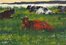 Maurice MacGonigal PPRHA HRA HRSA (1900-1979) CATTLE AT EVENING, COUNTY KERRY