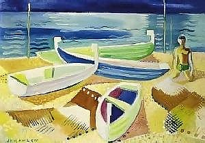 Father Jack Hanlon (1913-1968) BOATS ON THE CâTE D'AZUR  signed lower left oil on canvas  33 by 46cm., 13 by 18in. E10,000-12,000 (IR E7,800 9,400