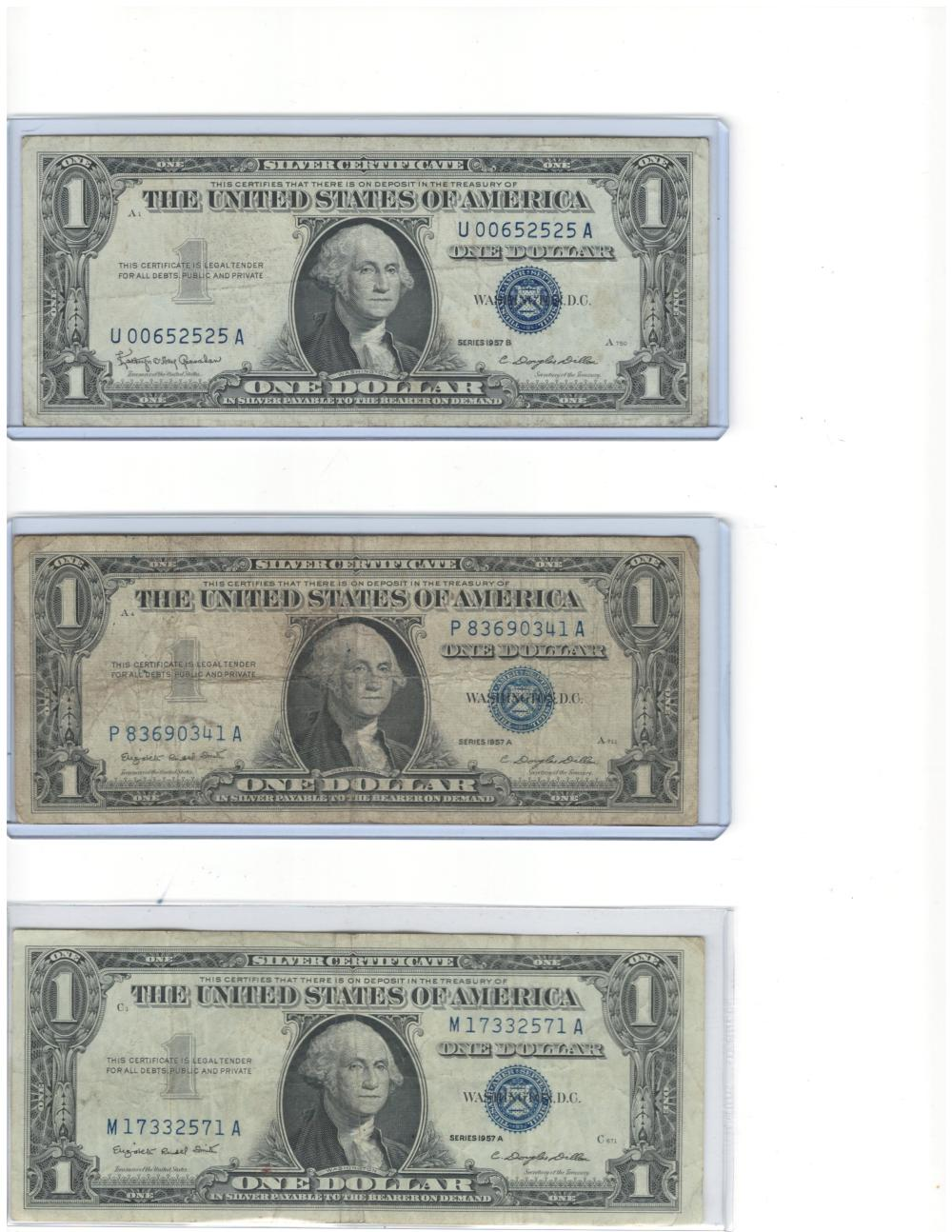 Lot of (3) Three 1957 $1 One Dollar Silver Certificates