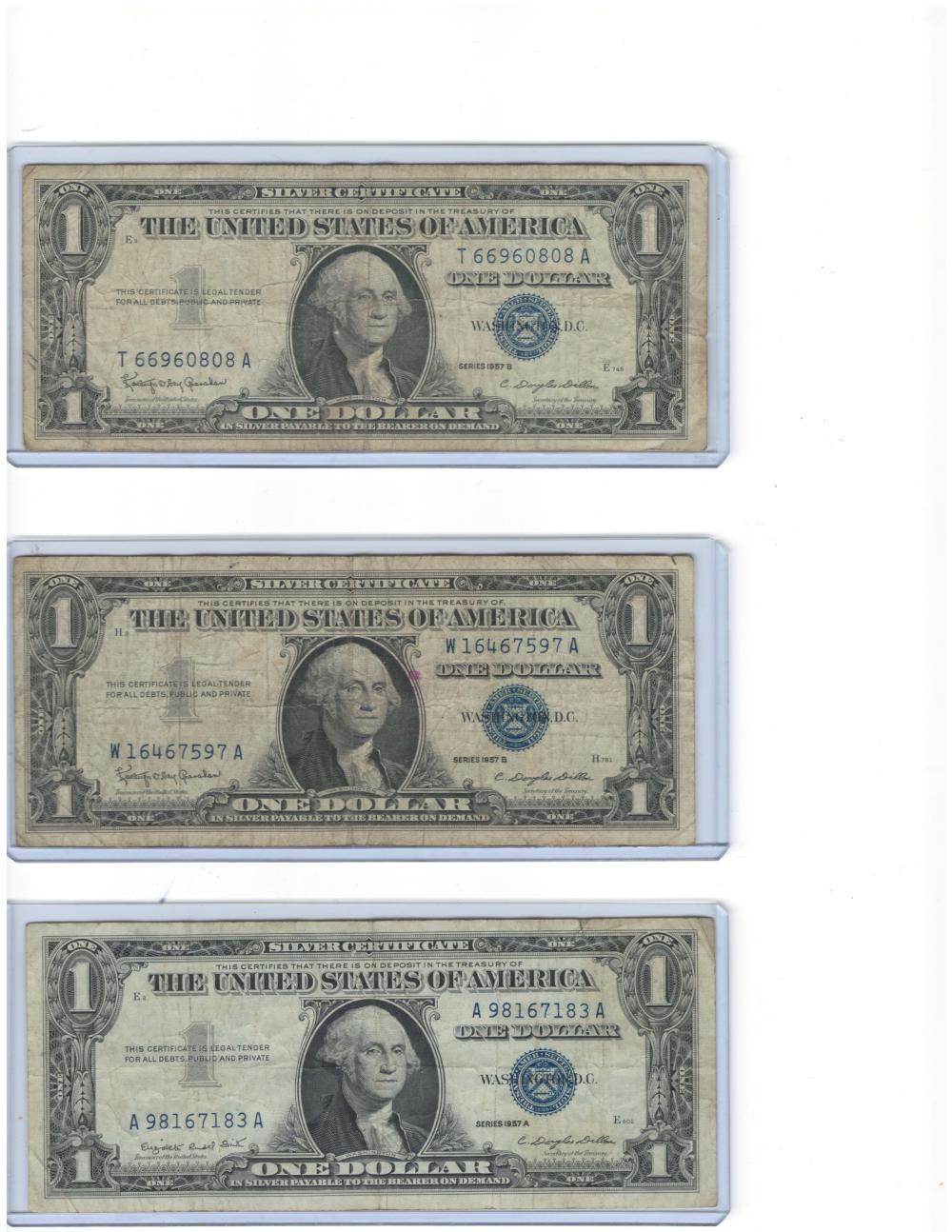 Lot of (6) Six 1957 $1 One Dollar Silver Certificates