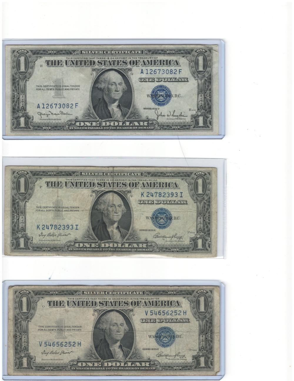Lot of (6) Six 1935 $1 One Dollar Silver Certificates