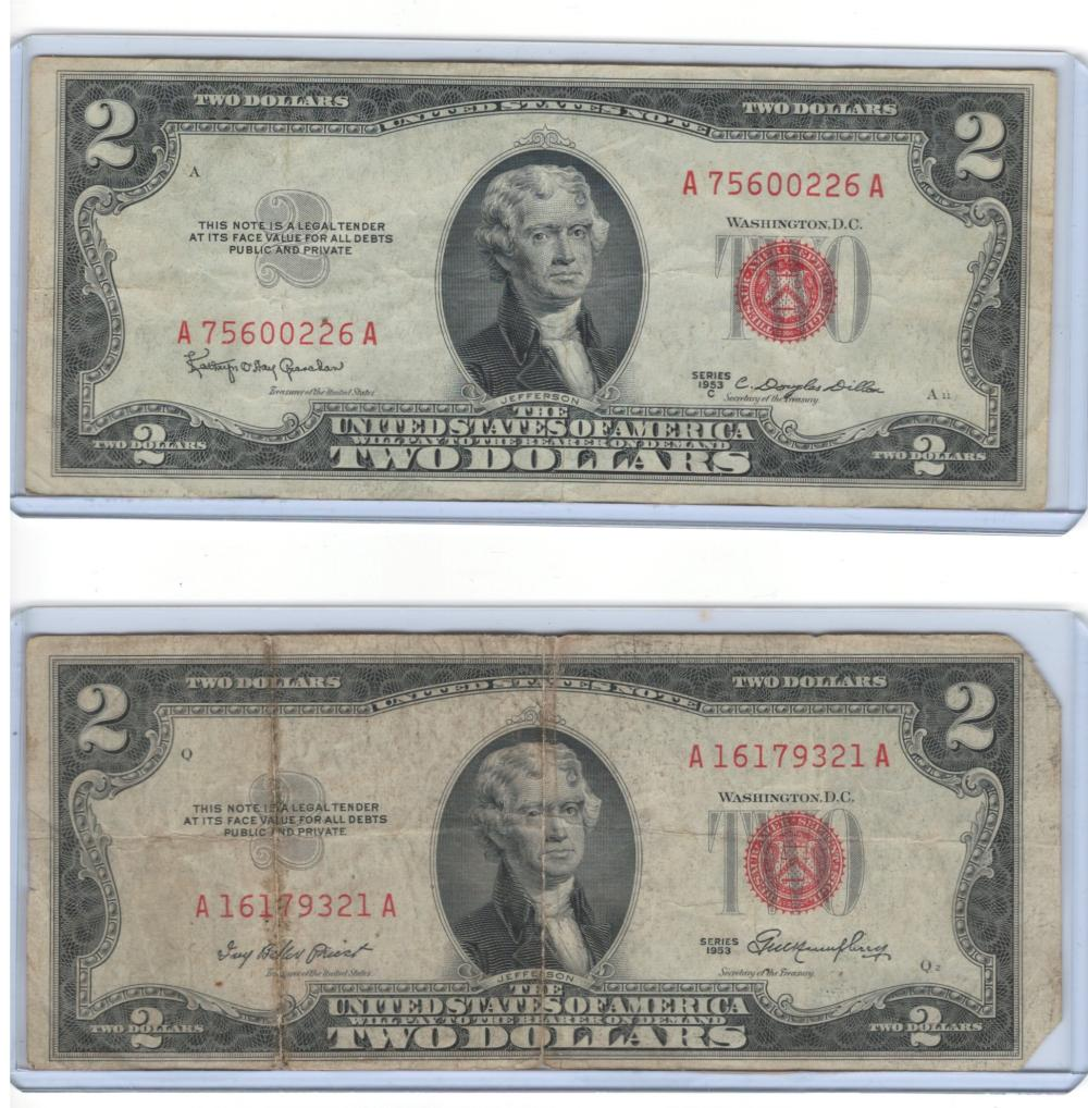 Lot of (2) two 1953 Red Seal $2 Bill Two Dollars Currency